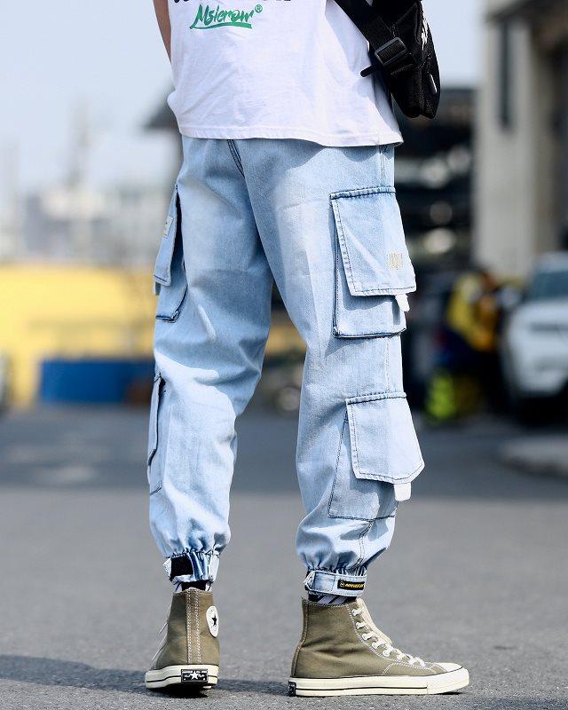 ストリート系デニムカーゴジョガーパンツの画像2